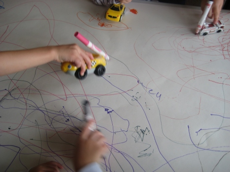 Lets draw roadways with our cars. Isn't this how the city planners design the roads?